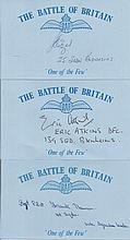 Battle of Britain signed cards. Fourteen blue cards with RAF logo printed o
