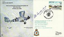 Baders Flight Teacher B17 Westland Wapiti cover signed by ACM Constantine D