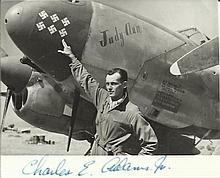 US Fighter ace Small black and white photo signed by US P38 WWII Ace Capt C