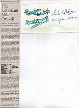 Signature and Obituary of Flight Lieutenant Michael Croskell 213 Sqn Battle