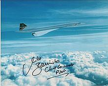 Concorde Collection Two 10 x 8 colour photos signed by Chief Concorde pilot