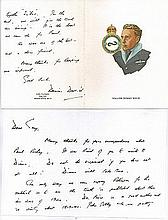 Group Captain Dennis David CBE DFC* AFC Personalised fine art card with per