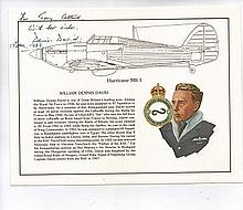 Fine art card signed by Group Captain Dennis David CBE DFC* AFC 87 & 213 Sq