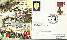 WW2 50th Ann VIP signed cover JS/50/41/7c Operation Crusader Signed Capt. P