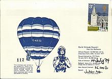 Balloon cover. Carried in the gondola of Henry VIII in 1974 during an attem