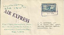 Unusual May 1929 Air Express first flight Springfield OH. cover with receiv