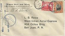 Unusual 1927 West Indian Aerial Express cover flown from Dominican Republic