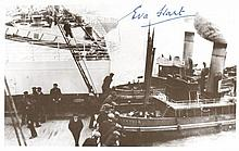 Four RMS Titanic survivors: 8x12 photo signed by survivor Millvina Dean, Titanic postcard signed by