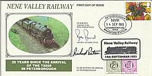 Sir Bob Reid and Richard Paten signed 1993 Nene Valley Railway FDC with Railway Letter Stamp. Good c