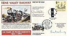 Dr Brian Mawhininey & Artist David Weston signed 1992 Nene Valley Railway FDC with Railway Letter St