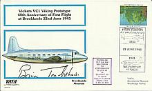 Brian Trubshaw signed VAFA Vickers VC1 Viking Prototype Brooklands Museum cover. Good condition