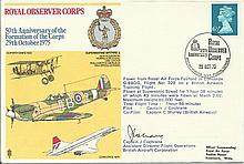 Concorde Captain John Cochrane signed 50th ann of the formation of the Royal Observer Corps cover. F