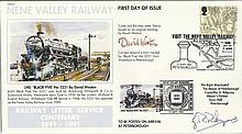 Artist David Weston & Mayor of Peterborough signed 1991 Nene Valley Railway FDC with Railway Letter
