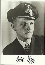 Erich Topp (1914 - 2005), the third most successful U-Boat Commander of WWII signed 6x4 black and wh