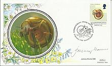 Johnny Morris Endangered Species cover signed by Johnny Morris OBE featuring Shining Ram s Horn Snai