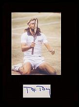 Bjorn Borg. Signature with a picture following his fifth victory at Wimbledon. Professionally mounte