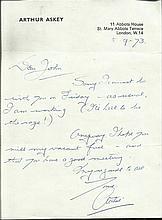 Arthur Askey handwritten TLS dated 5.9.73. (6 June