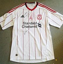 Liverpool football away shirt autographed by Kenny