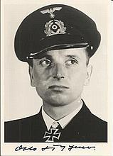 Otto Kretschmer U99 Commander signed stunning 6 x 4 b/w portrait photo. Goo