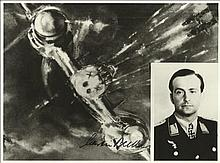 Haupt Ludwig Becker KC OL signed unusual 8 x 8 b/w WW2 plane in flight with
