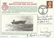 Battle of the Atlantic 50th ann Navy cover signed by Ian Fraser VC, E Hawki