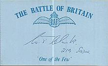 WTM Clark 219 sqdn signed card. Battle of Britain WW2 pilot. Good condition