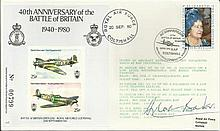 Sir Douglas Bader DFC DSO signed 40th ann Battle of Britain cover flown by