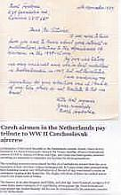 Letter from Czech Sergeant Pavel Svoboda 311 Squadron RAF. As a result of t