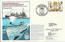 Otto Kretschmer U99 Commander signed Navy cover 40th ann Sinking of U99. Al