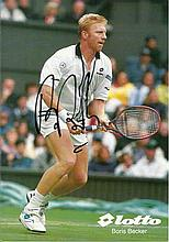 Boris Becker signed colour promotional Lotto card. 49 single titles. Good c