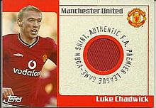 Luke Chadwick limited edition match worn shirt trade card - not signed. Goo