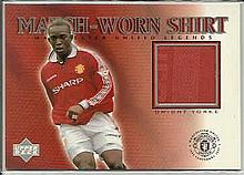 Dwight Yorke limited edition match worn shirt trade card - not signed. Good