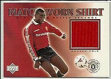 Andy Cole limited edition match worn shirt trade card - not signed. Good co