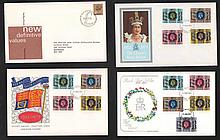 GB FDCs a few hundred in five shoe boxes including Benham Small silks, a Co