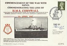 Commemorating the loss of HMS Cornwall cover.  3rd series no 9a.  Signed b