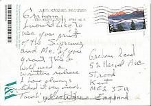 Mary Wilson hand written postcard to a fan. The Supremes singer.Good condi