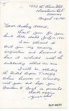 Flight Lieutenant Guy Elwood Mott DFC Good signature on note of Canadian f