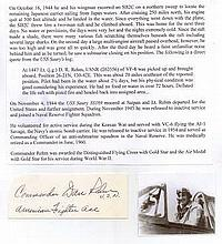 Commander Daniel Rehm Jr Signature of U.S. Navy high scoring fighter ace C