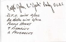 Captain John F. Purdy Signature of WWII fighter ace USAF Captain John F. P