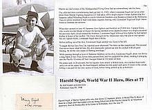 Captain Harold Segal Signature of high-scoring United States Marine Corps