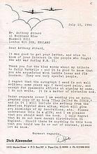 Richard Dixie Alexander Good content typed letter