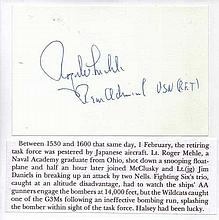 Rear Admiral Roger Mehle USN Signature on card Ace