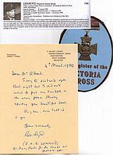 Wing Commander Roderick Learoyd VC Hand written