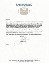 Walter Payton American Football Typed Letter Signe