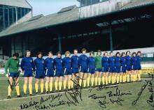 Chelsea Legends autographed football photo. High q
