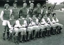 Arsenal footballers autographed football photo. Hi