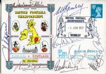 FOOTBALL MULTI SIGNED - 1977 England v Scotland co
