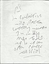 Ronnie Kray signed note on 6 x 4 white page.