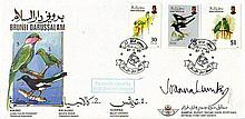 Joanna Lumley signed 1993 Brunei Birds FDC,