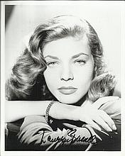 Lauren Bacall signed 10 x 8 black and white